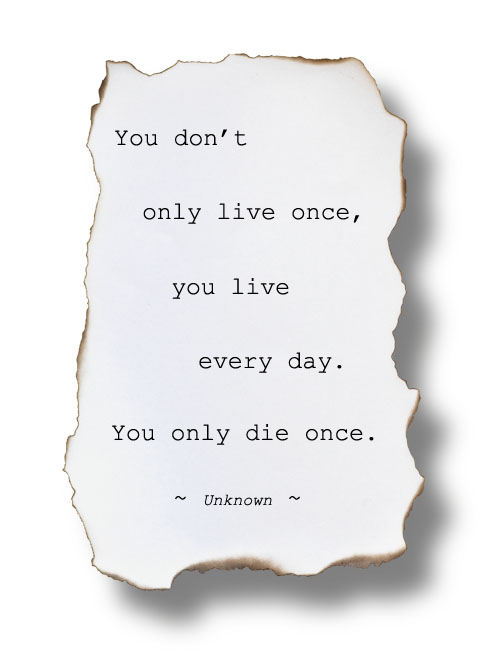 You don't only live once - you live every day. You only die once.