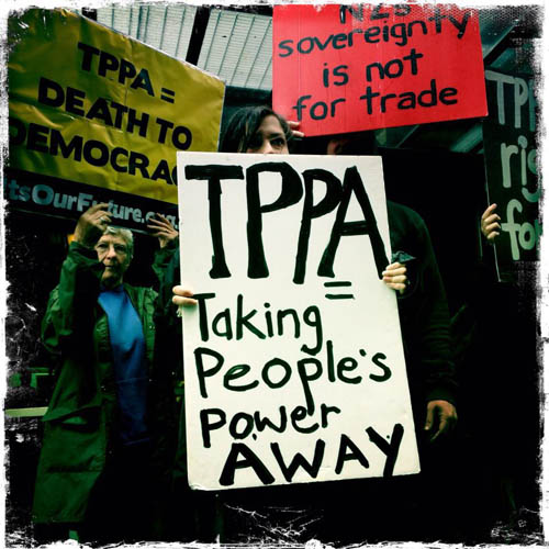 Protesting the TPPA in Auckland, New Zealand