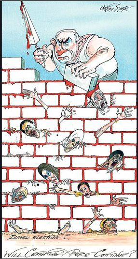 Gerald Scarfe's Sunday Times cartoon on Holocaust Day, 27 January 2013, depicting Israeli PM Netanyahu cementing a Wall built of Palestinians