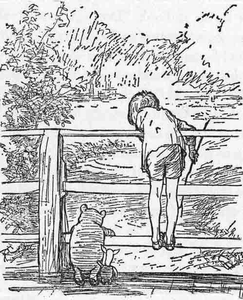 "Image:  ""Sometimes, if you stand on the bottom rail of a bridge and lean over to watch the river slipping slowly away beneath you, you will suddenly know everything there is to be known."" ~ A.A. Milne"