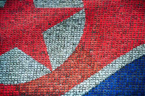 Image: North Korean flag composed of human pixels