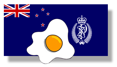 Image: egg on the ensign of New Zealand Police