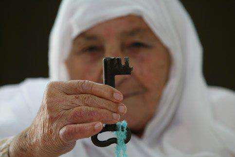Image: Mudalala Akel, 86, a Palestinian refugee since 1948, still has her house key