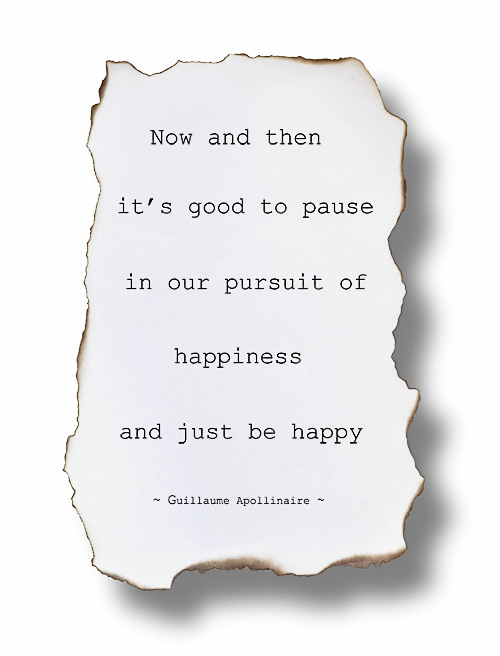 "Image: ""Now and then it's good to pause in our pursuit of happiness and just be happy."" ~ Guillaume Apollinaire"