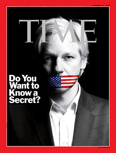 Image: Julian Assagne ~ Time Magazine Cover