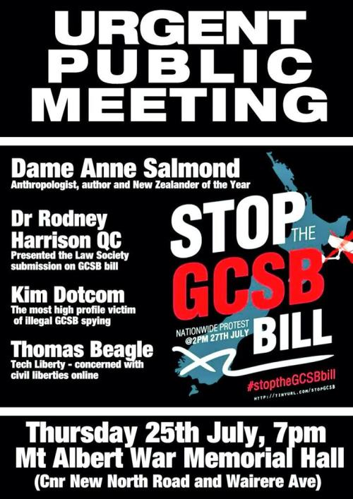 Image: Public Meeting - Stop the GCSB Bill - Poster