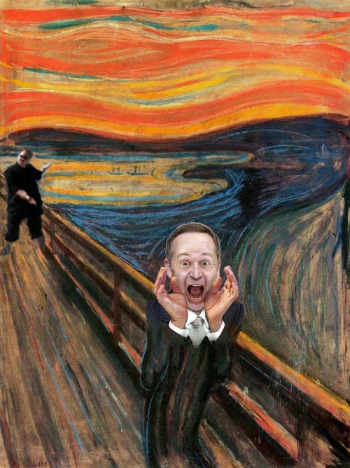 "Image: ""The scream"" — John Key is a liar"